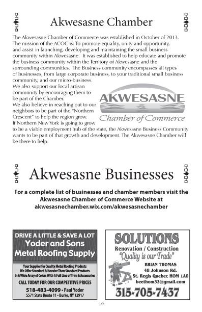 Akwesasne 2016 Business Directory pg 16