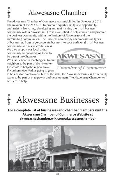 Akwesasne Mohawk Directory 2017 pg 20