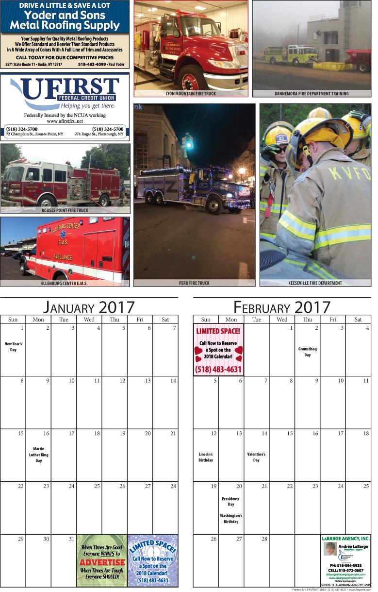 Clinton Calendar 2017 January and February