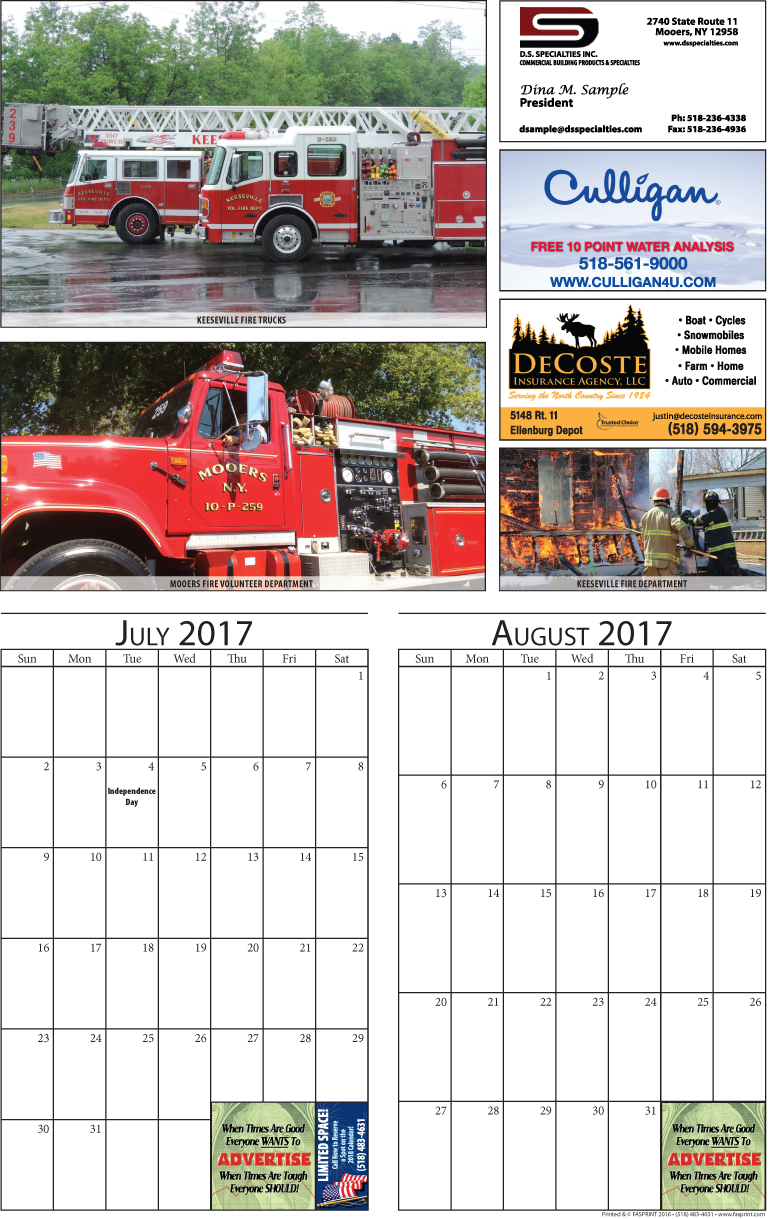Clinton Calendar 2017 July and August