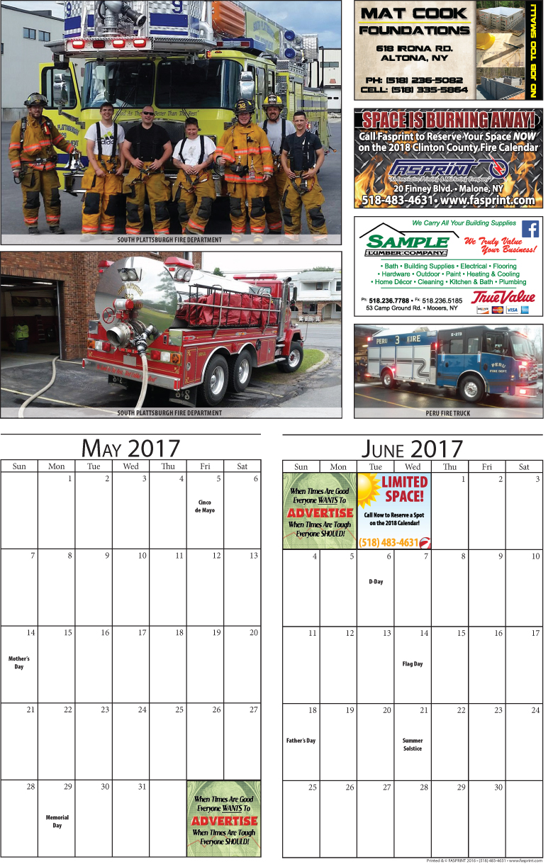 Clinton Calendar 2017 May and June