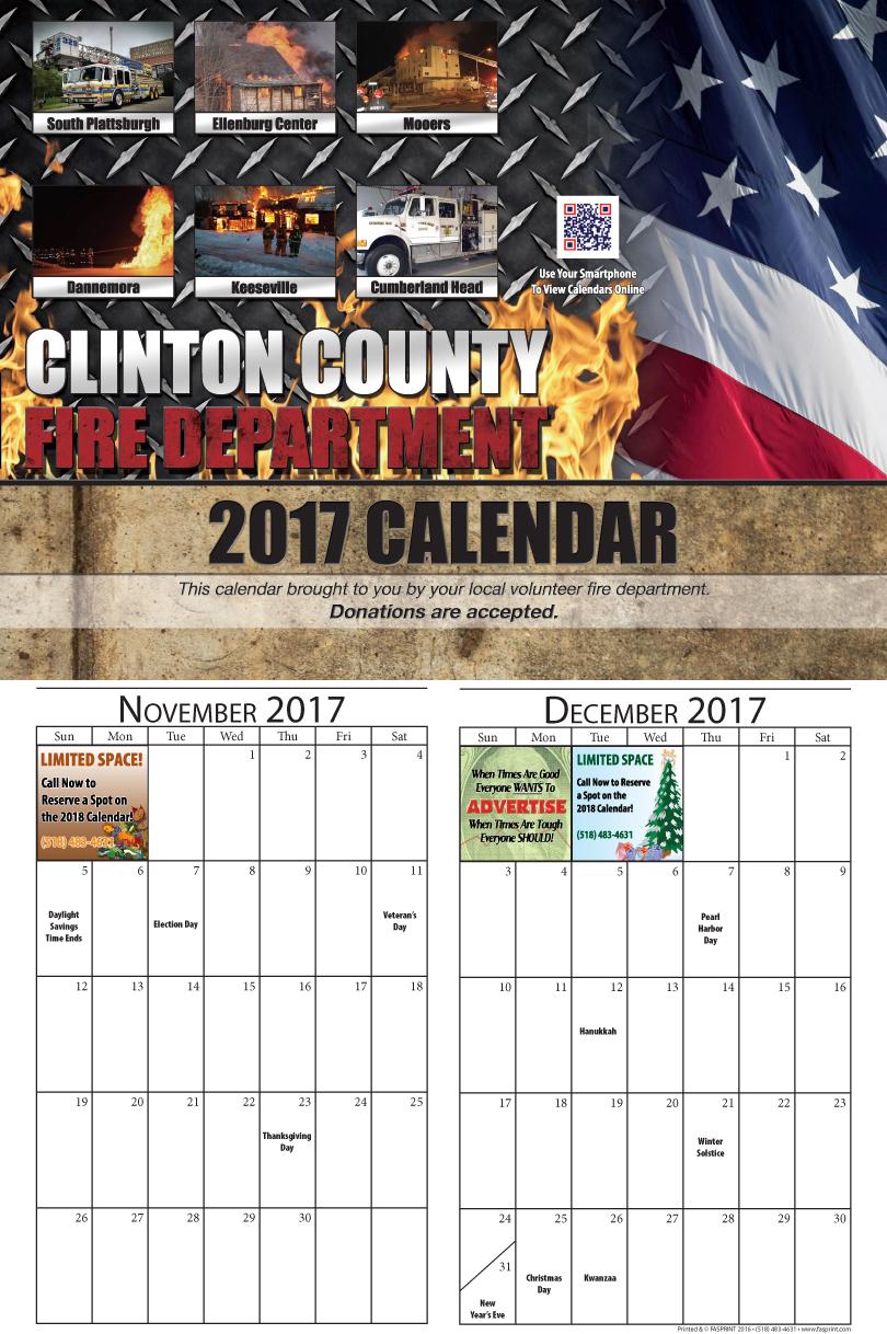 Clinton Calendar 2017 November and December