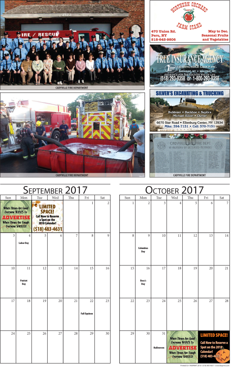 Clinton Calendar 2017 Sepetember and October