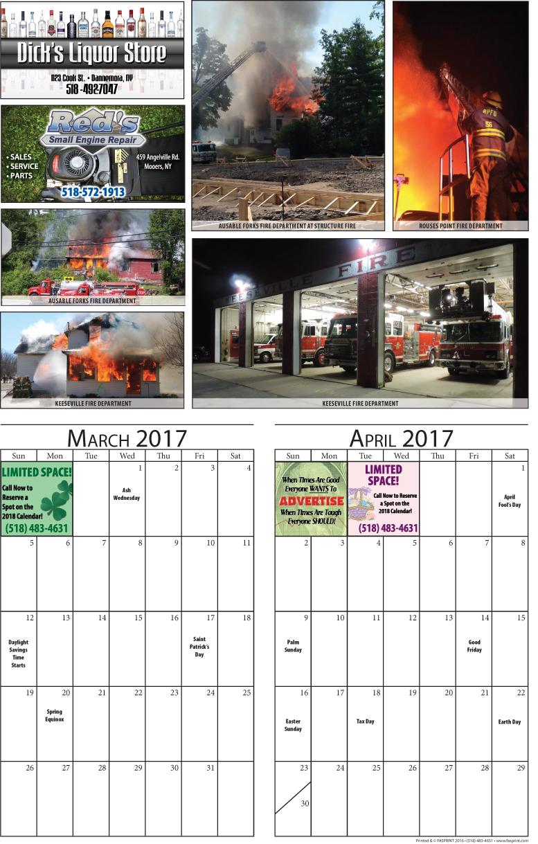 Clinton Calendar 2017 march and April