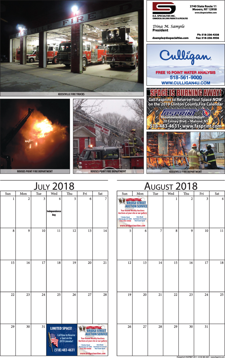 Clinton Calendar 2018 July and August