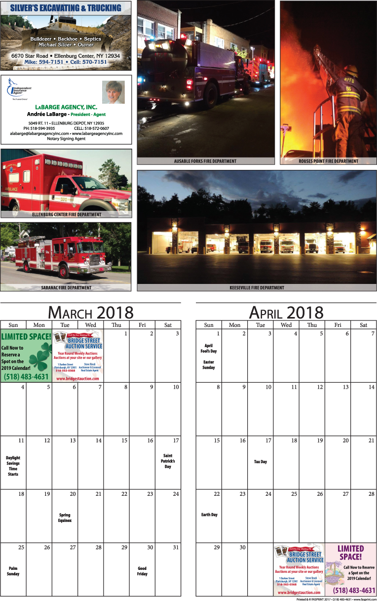 Clinton Calendar 2018 March and April