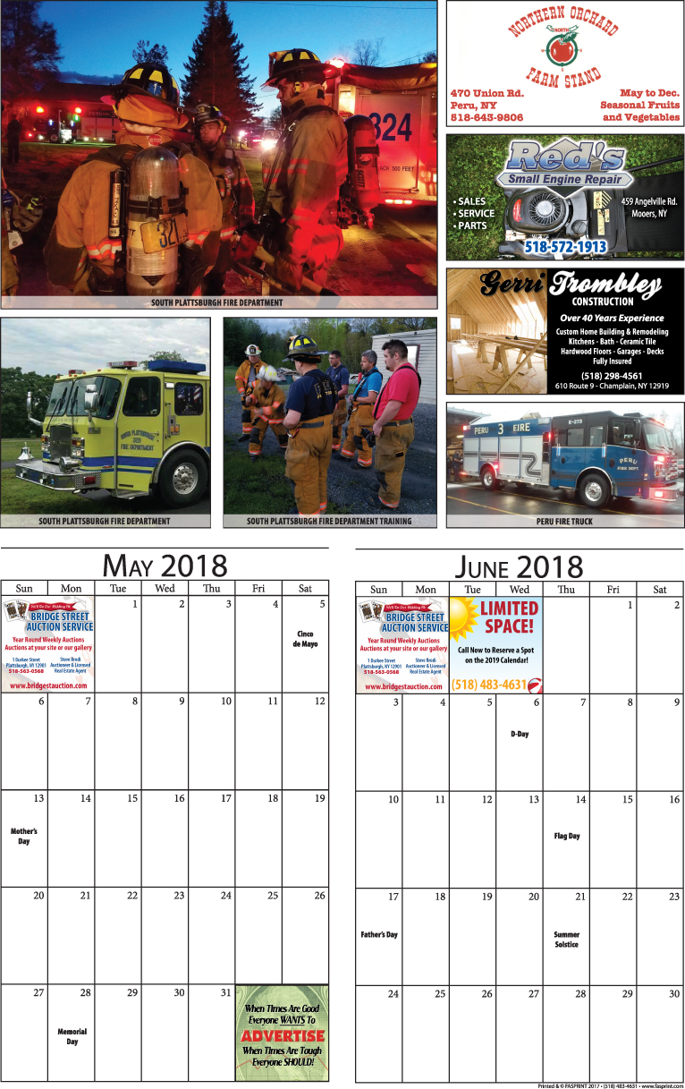 Clinton Calendar 2018 May and June