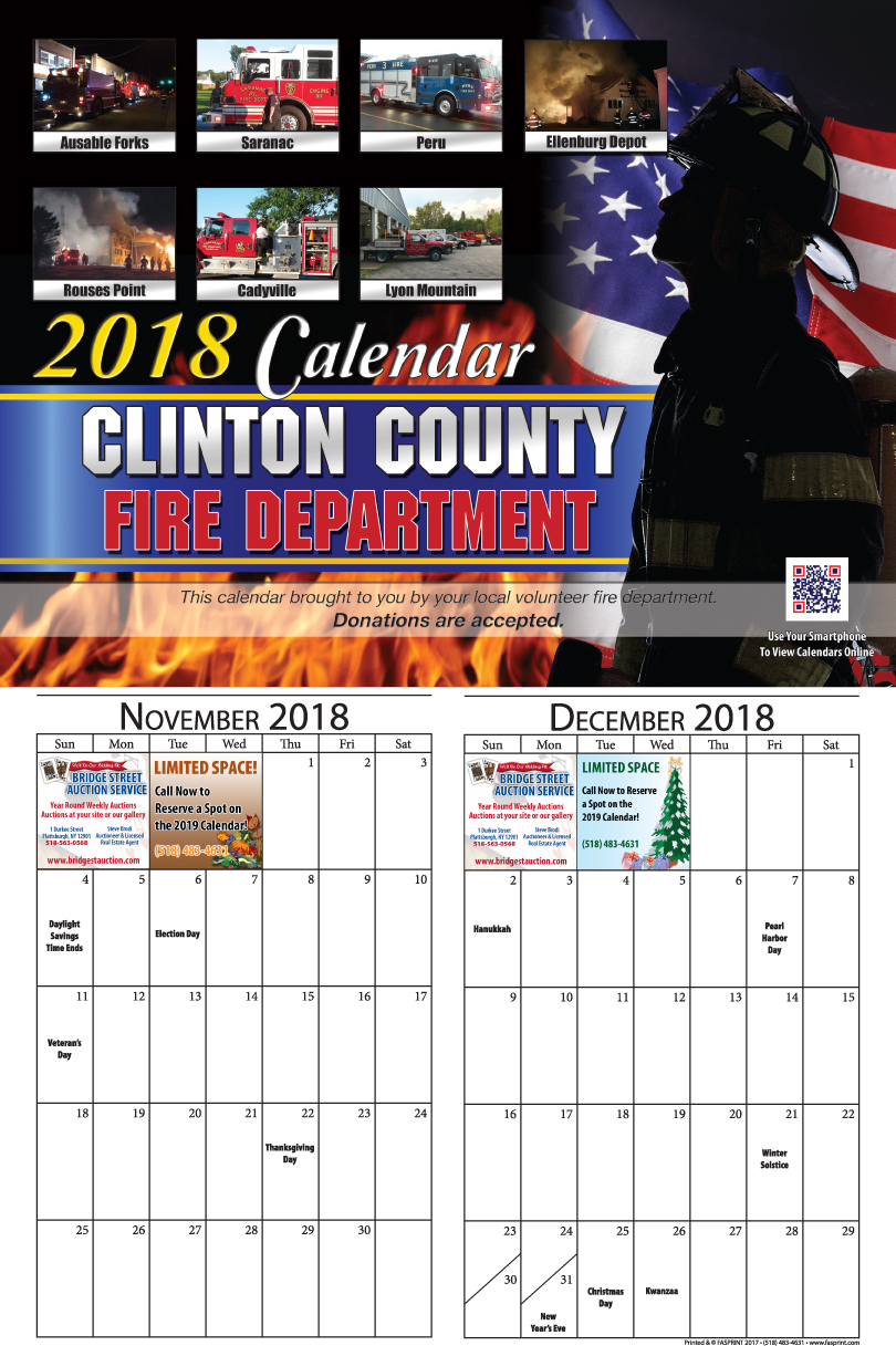 Clinton Calendar 2018 - November and December