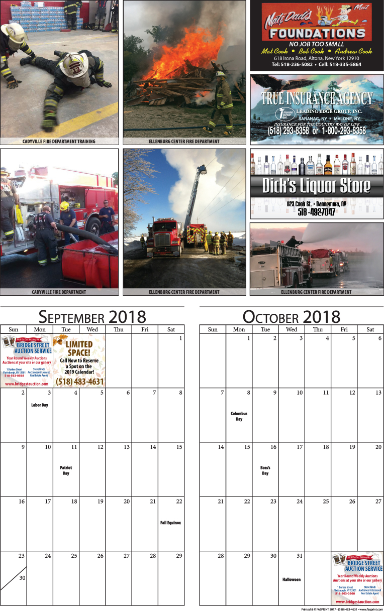 Clinton Calendar 2018 - September and October