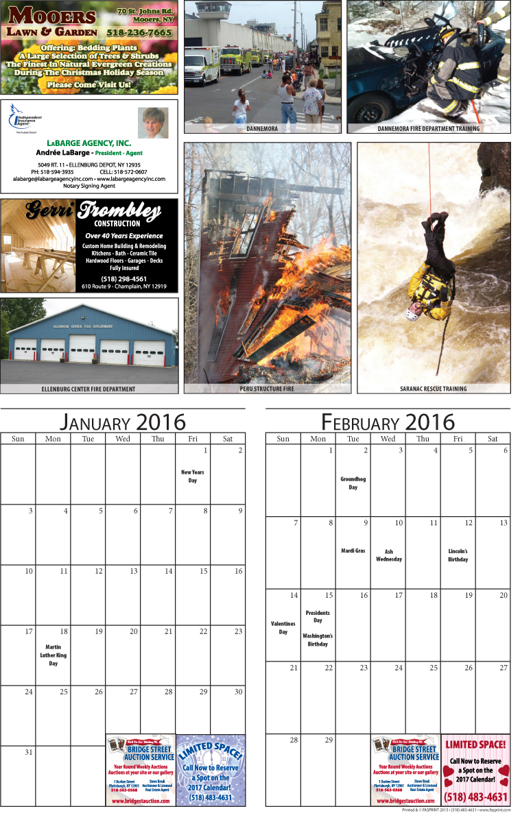 Clinton County 2016 Calendar January and February