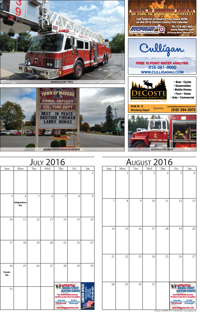 Clinton County 2016 Calendar July and August