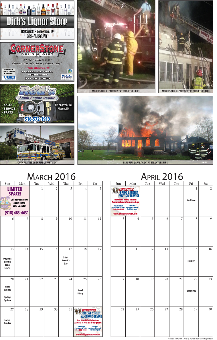 Clinton County 2016 Calendar March and April