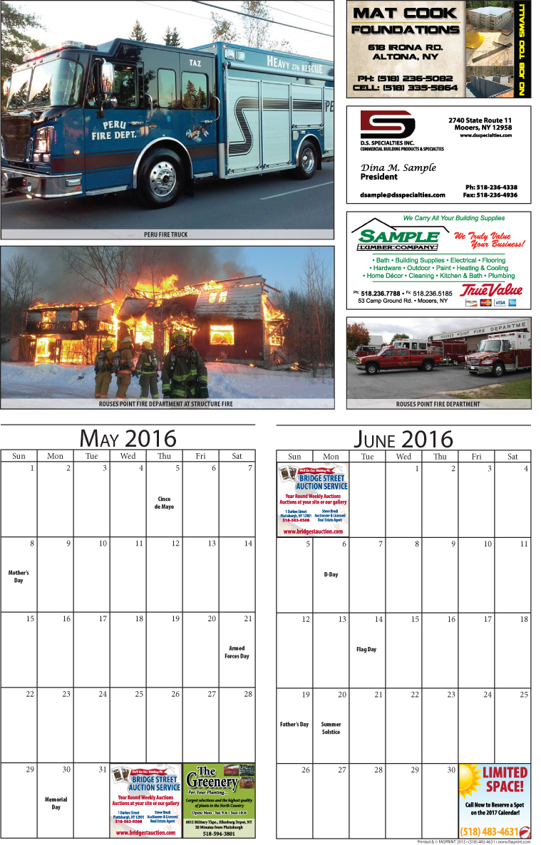 Clinton County 2016 Calendar May and June