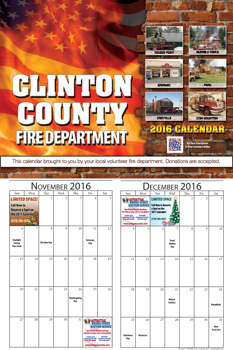 Clinton County 2016 Calendar November and December