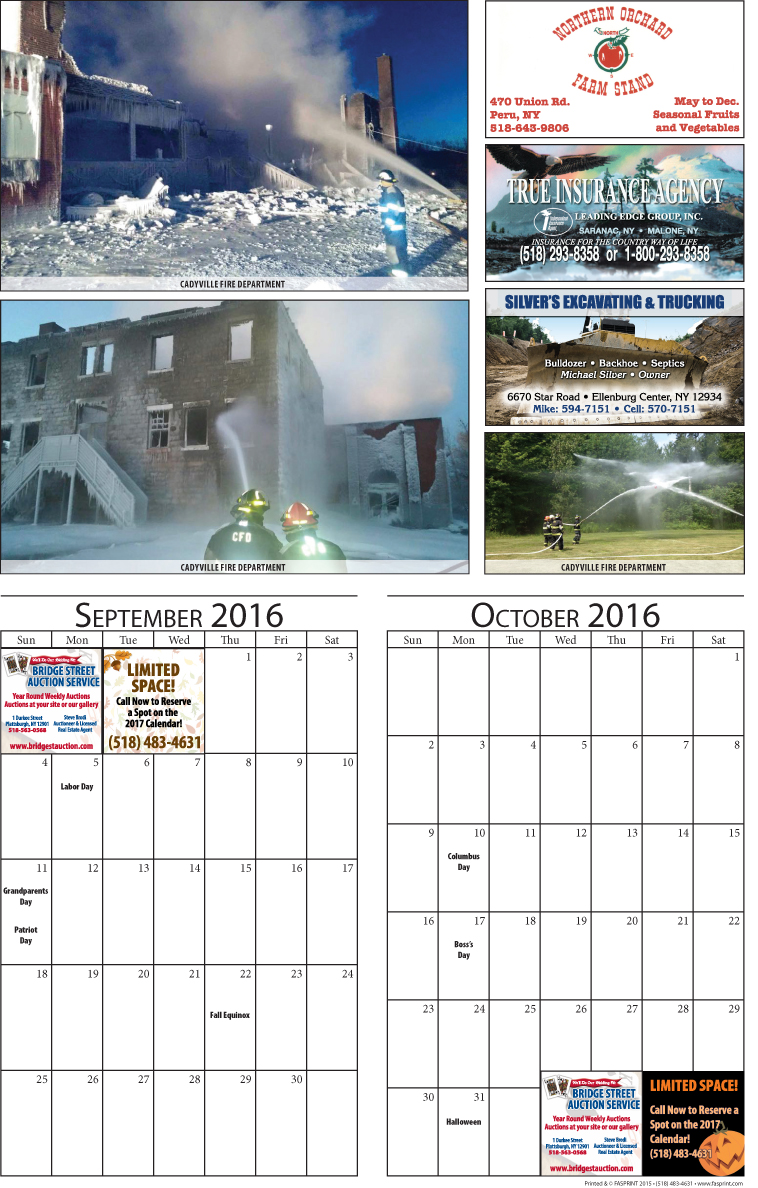 Clinton County 2016 Calendar September and October