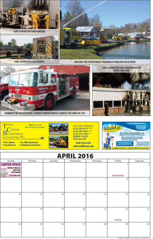Franklin County Fire Calendar 2016 April