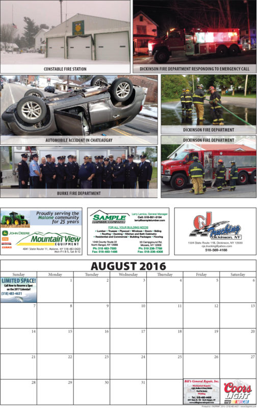 Franklin County Fire Calendar 2016 August
