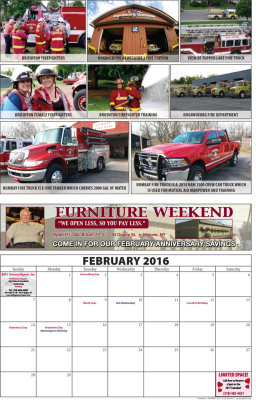 Franklin County Fire Calendar 2016 February