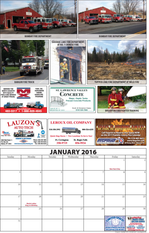 Franklin County Fire Calendar 2016 January