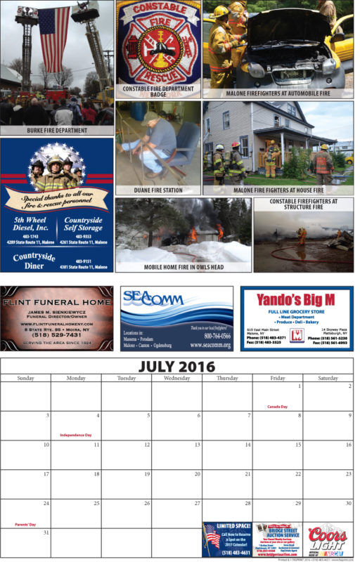 Franklin County Fire Calendar 2016 July