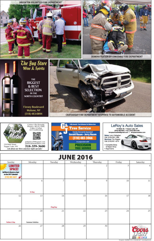 Franklin County Fire Calendar 2016 June