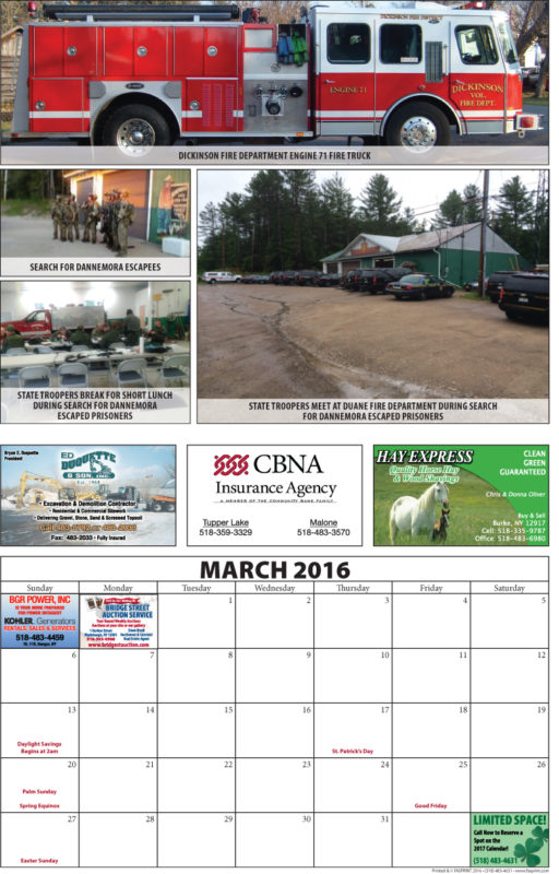 Franklin County Fire Calendar 2016 March