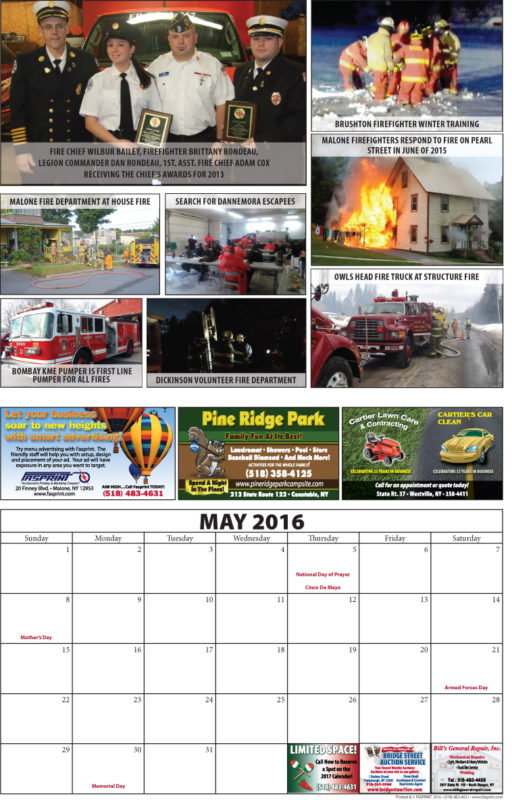 Franklin County Fire Calendar 2016 May