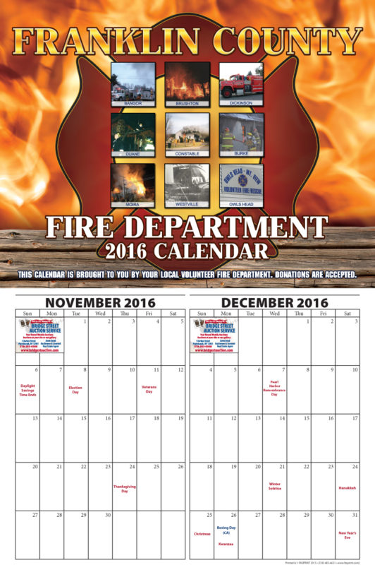 Franklin County Fire Calendar 2016 November and December