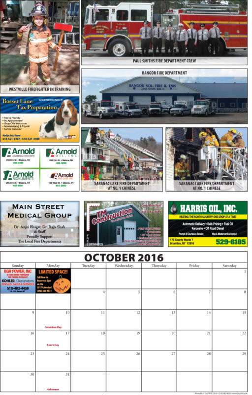 Franklin County Fire Calendar 2016 October
