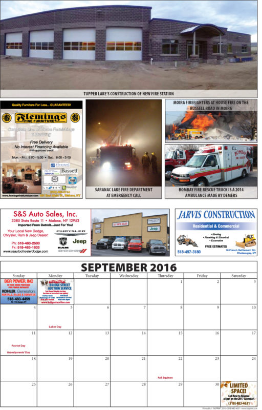 Franklin County Fire Calendar 2016 September