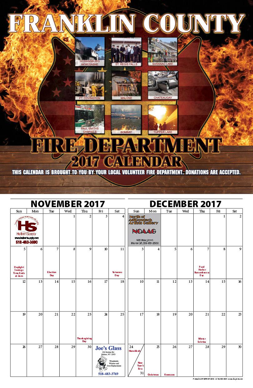 Franklin County Fire Calendar 20172