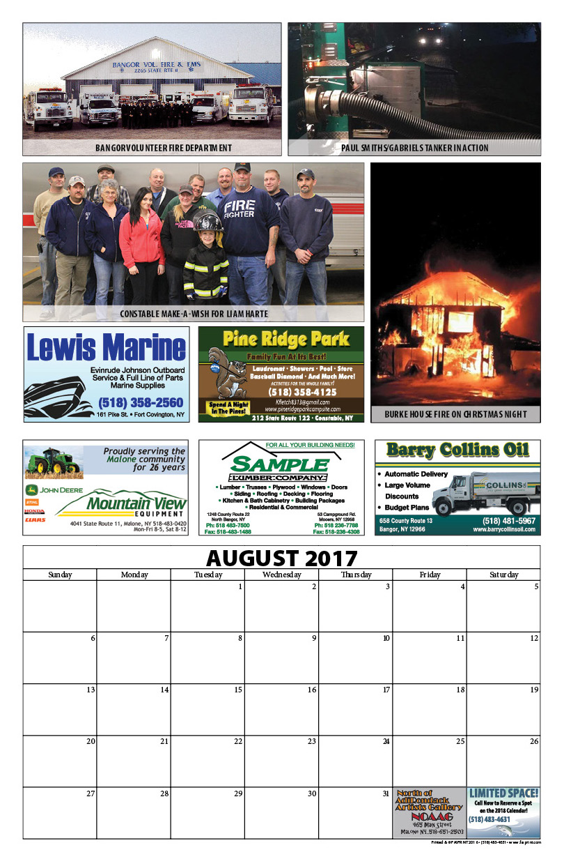 Franklin County Fire Calendar 20178