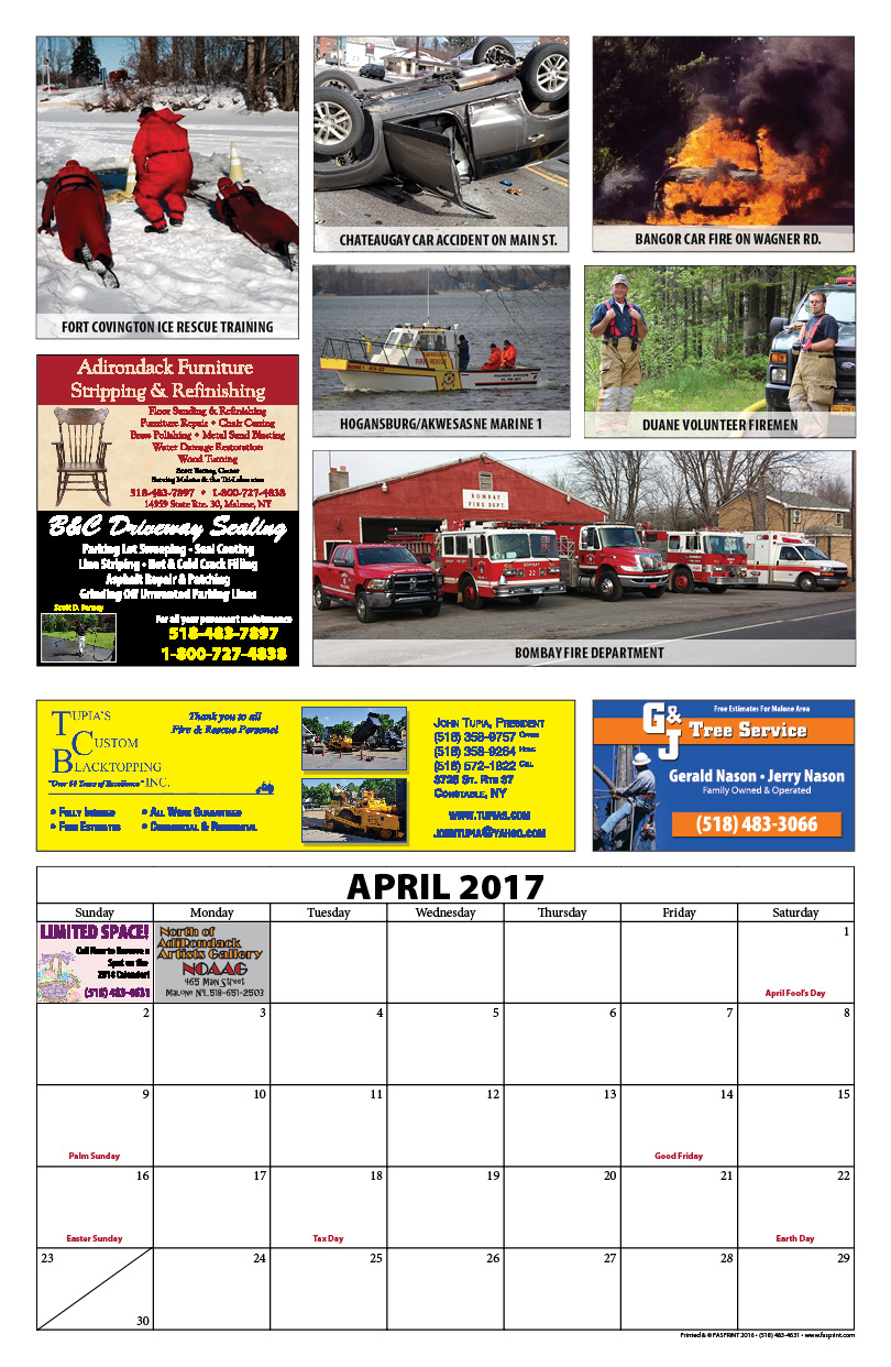 Franklin County Fire Calendar 20179