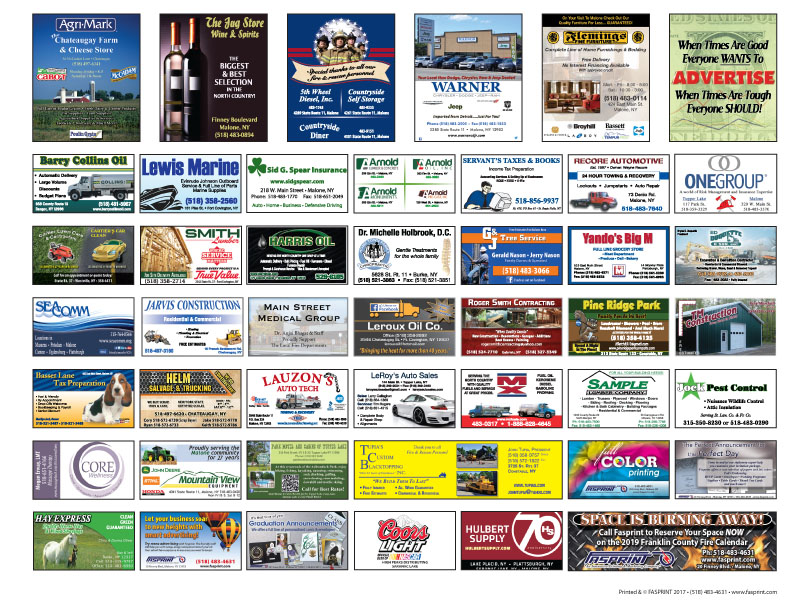 Franklin County Fire Calendar 2018 Ads