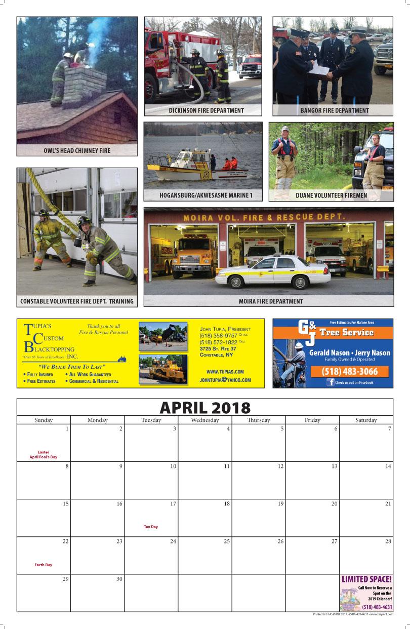 Franklin County Fire Calendar 2018 April