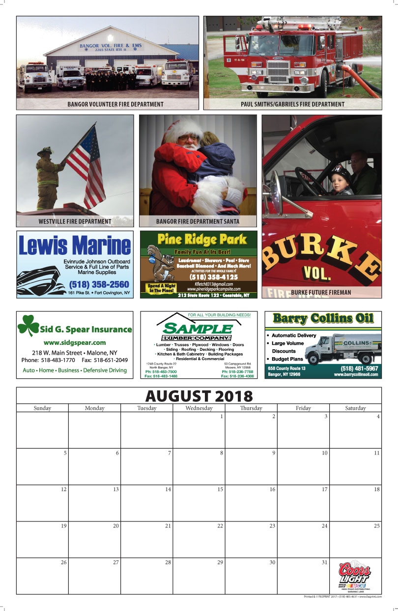 Franklin County Fire Calendar 2018 August