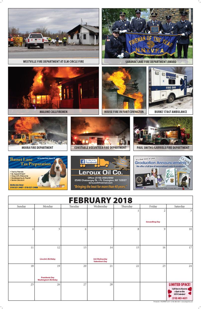 Franklin County Fire Calendar 2018 February