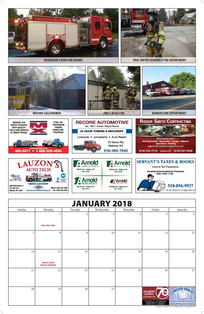 Franklin County Fire Calendar 2018 January