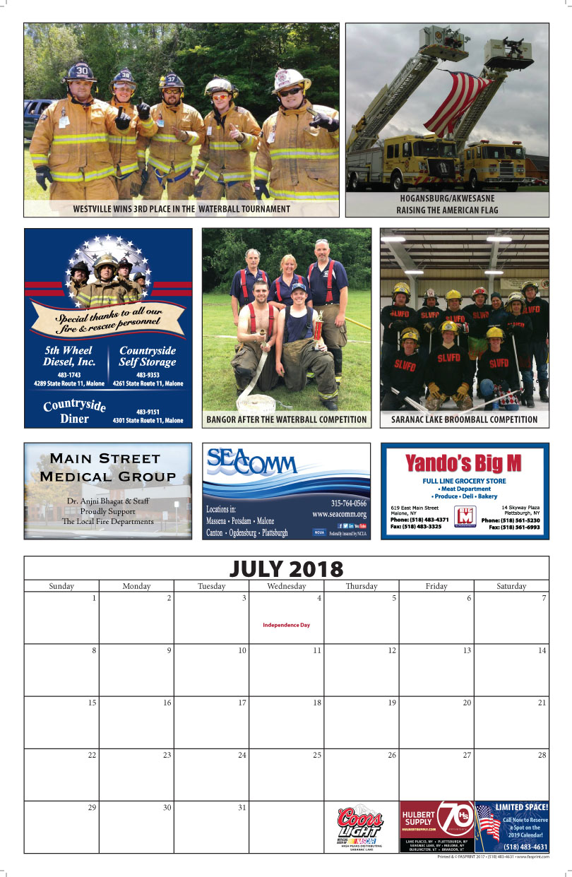 Franklin County Fire Calendar 2018 July