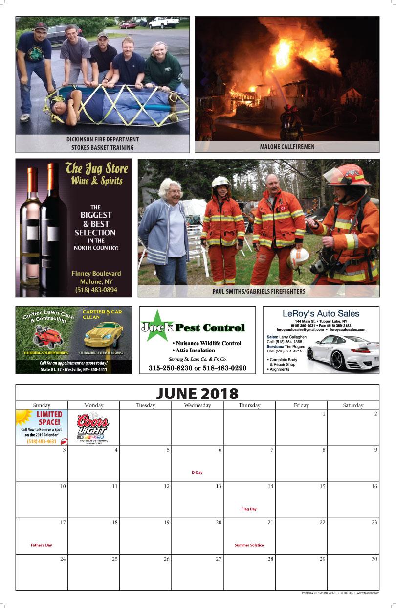 Franklin County Fire Calendar 2018 June
