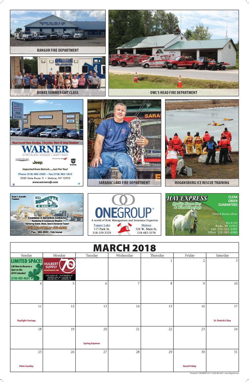 Franklin County Fire Calendar 2018 March