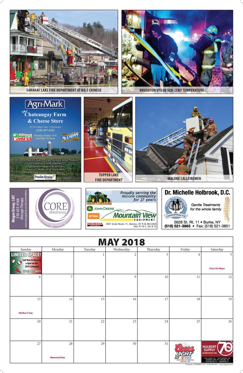 Franklin County Fire Calendar 2018 May