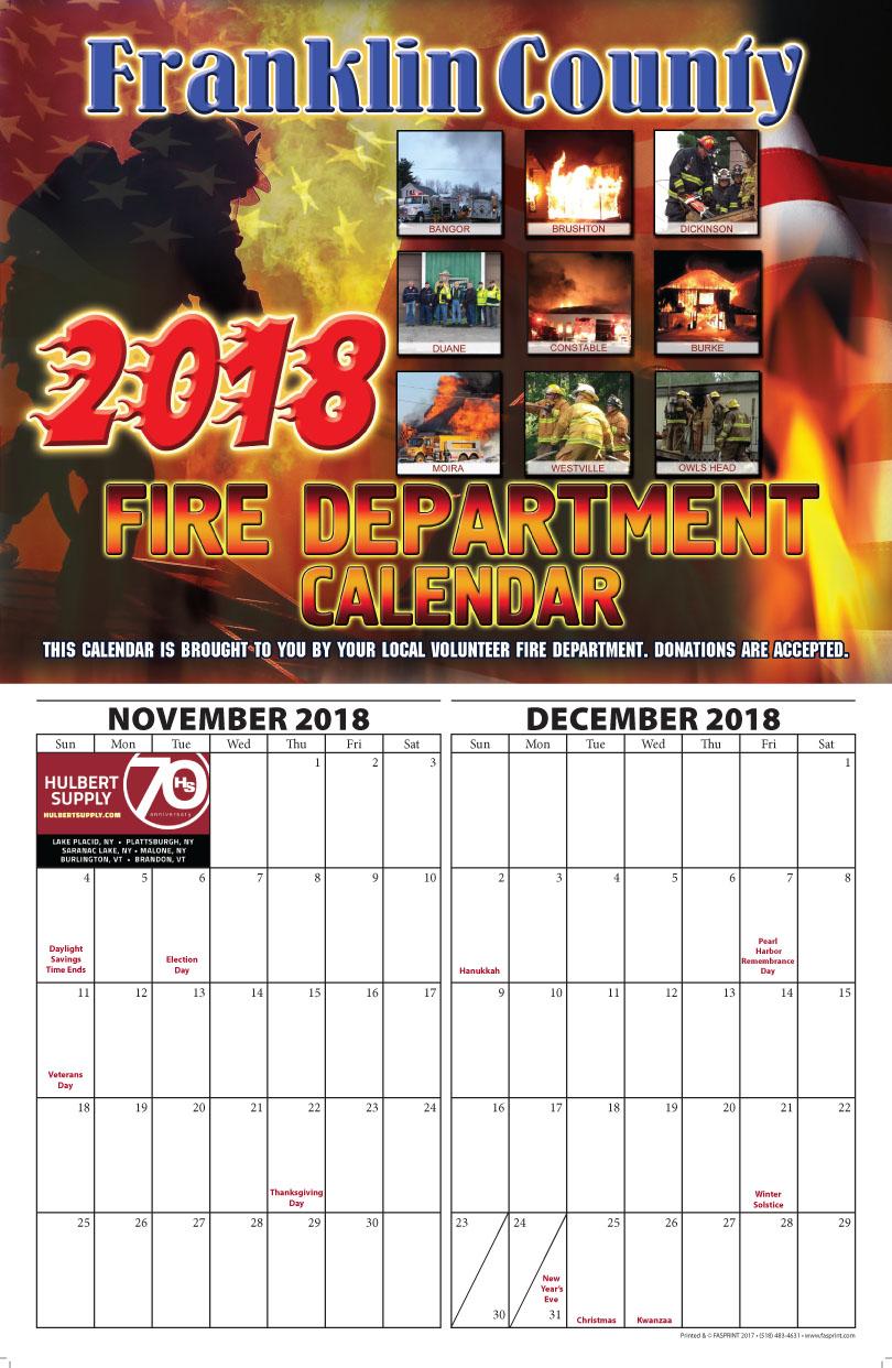 Franklin County Fire Calendar 2018 November and December