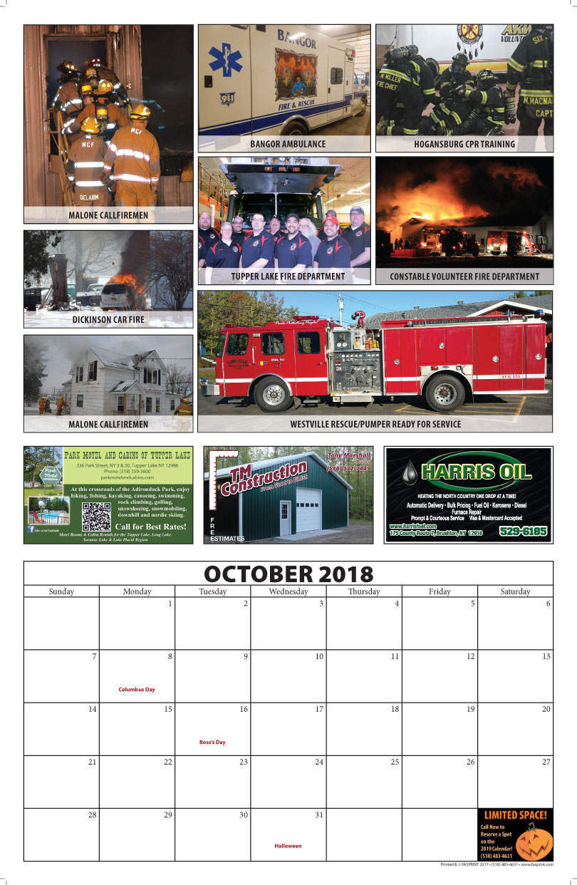 Franklin County Fire Calendar 2018 October