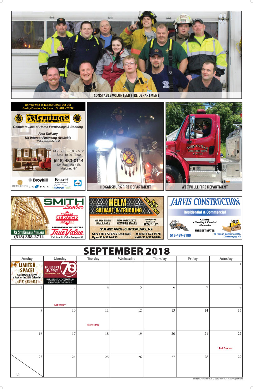 Franklin County Fire Calendar 2018 September