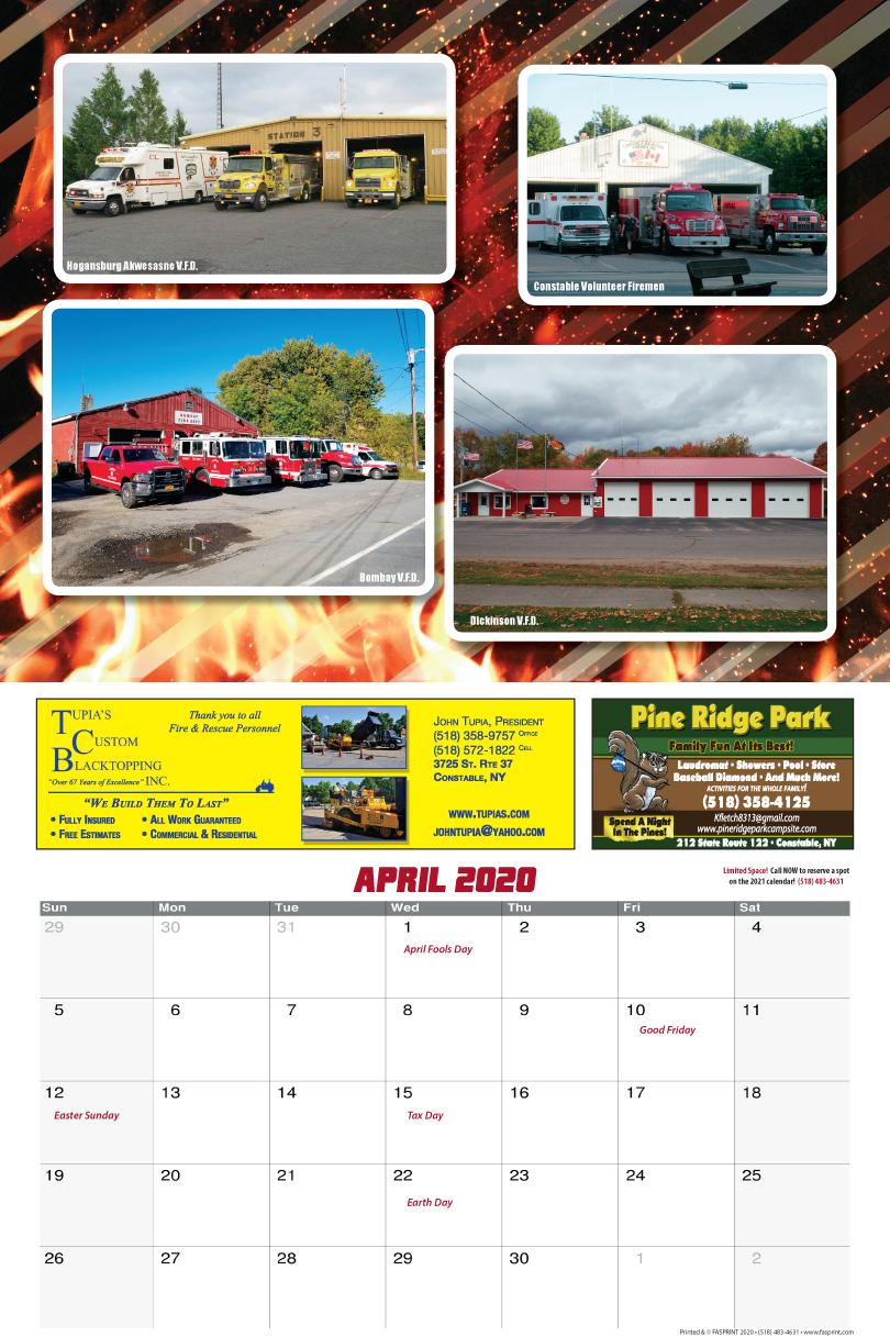 Franklin County Fire Calendar 2020 April