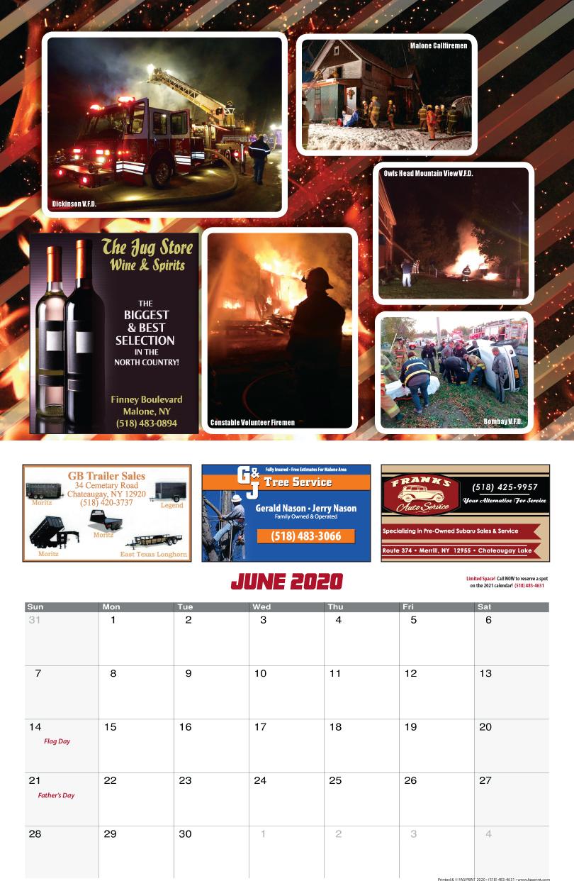 Franklin County Fire Calendar 2020 June
