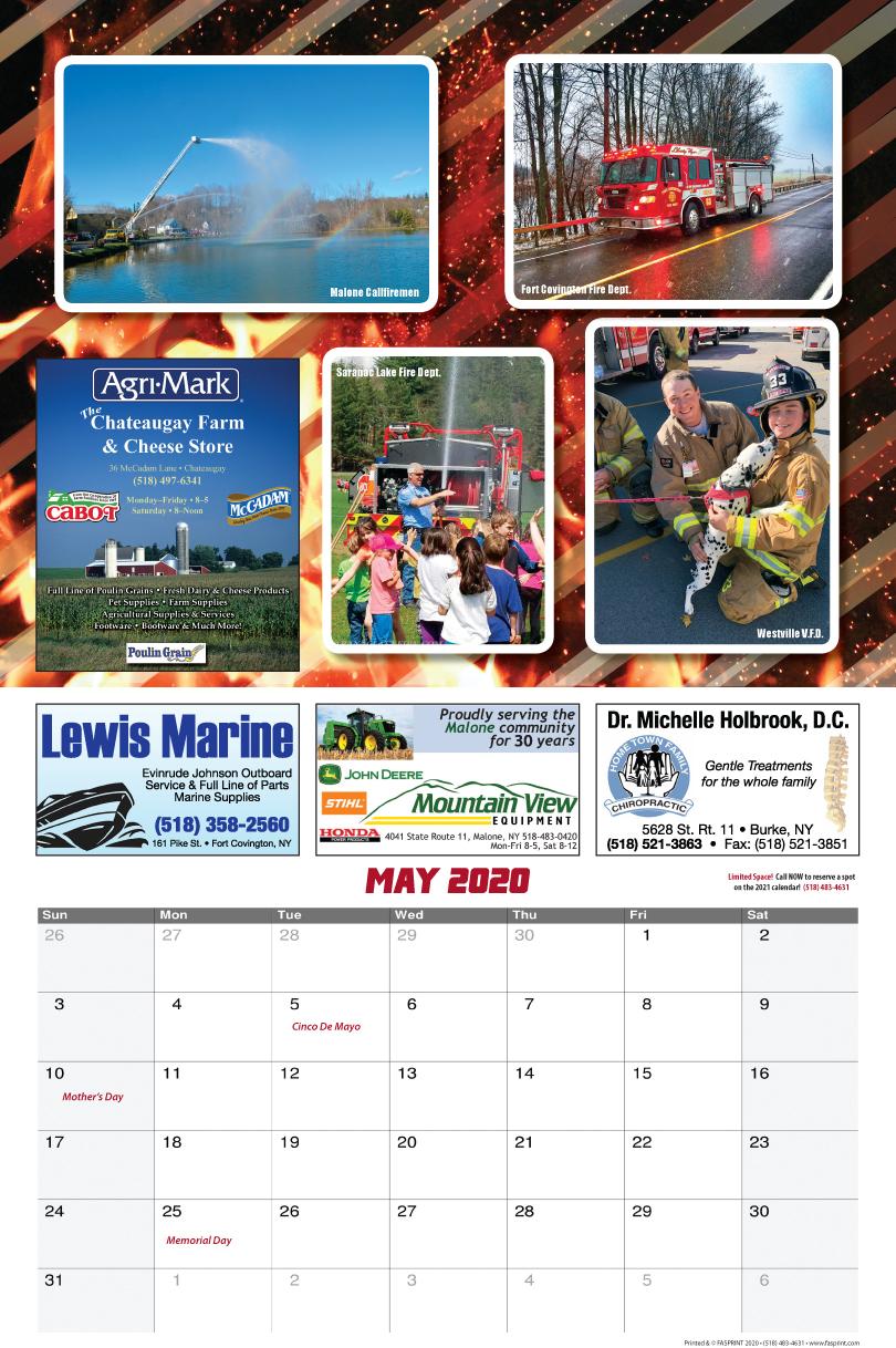 Franklin County Fire Calendar 2020 May