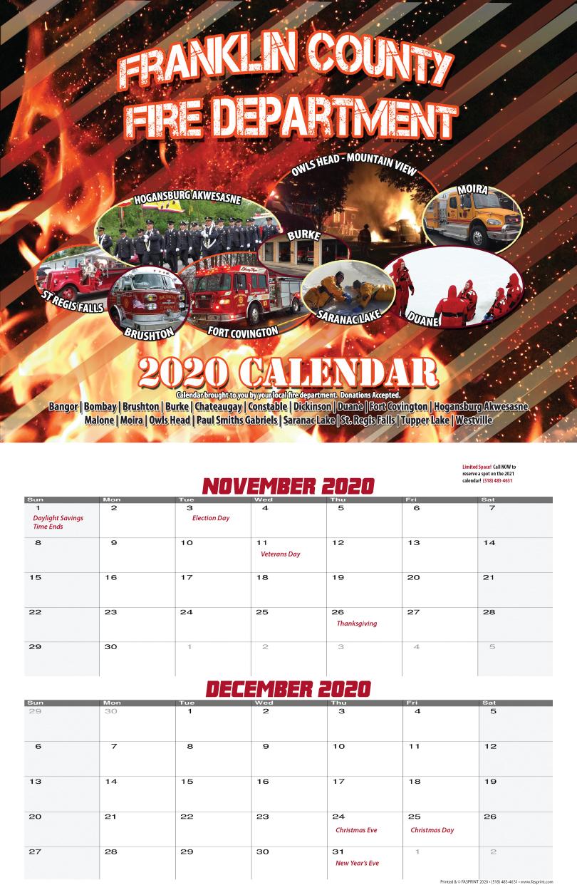 Franklin County Fire Calendar 2020 Nov & Dec