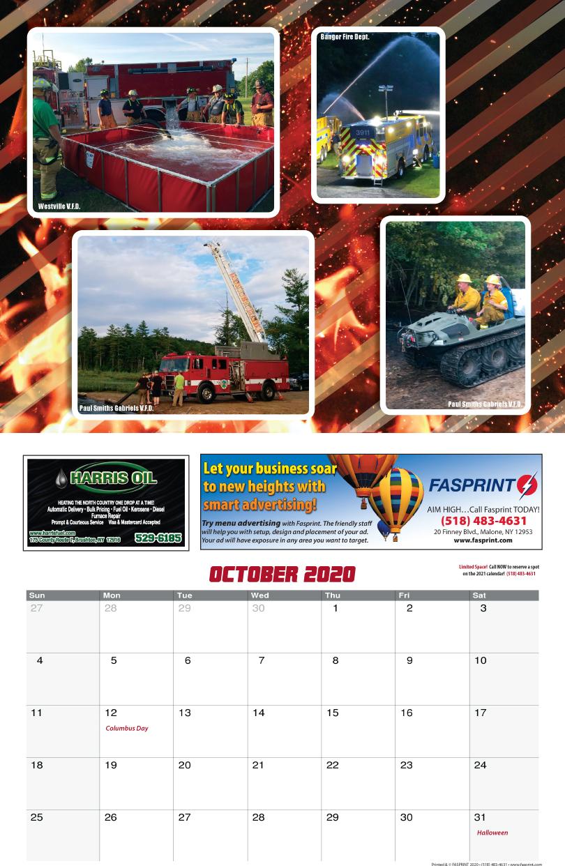 Franklin County Fire Calendar 2020 Oct
